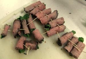 Beef & mint rolls 1