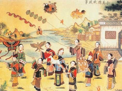 Kite flying at Qingming jie