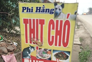 Vietnamese dog and cat meat restaurant advert